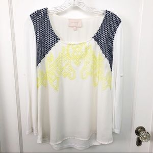 Skies Are Blue Blouse with Blue & Yellow Crochet